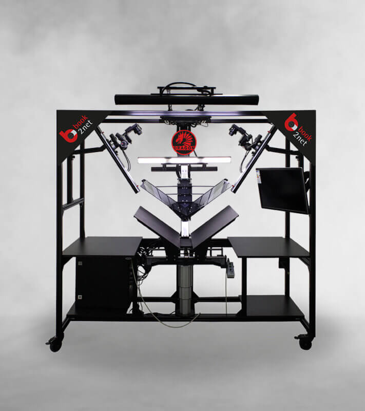 book2net Dragon A1 High-End Semirobotik Buchscanner mit V-Andruck